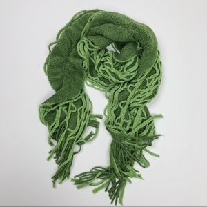 Tickle pink ruffled Green long scarf